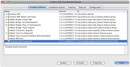 Installed Software SDK Mylyn Tasktop
