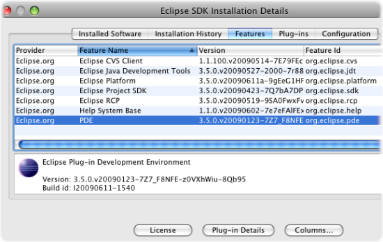 installed software sdk only - features