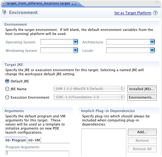 Target Definition Environment Tab