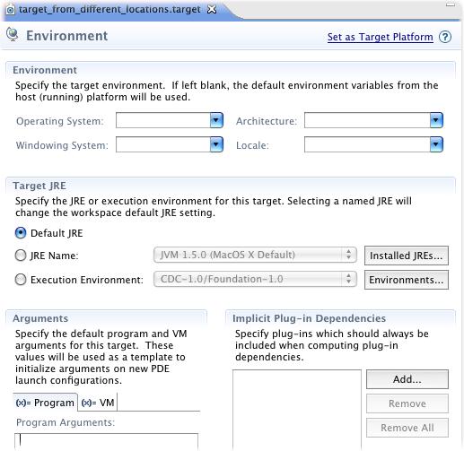 Target Definition Environment Tab